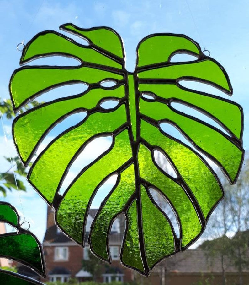 Stained glass Monstera Leaf / Swiss Cheese Plant Suncatcher 3