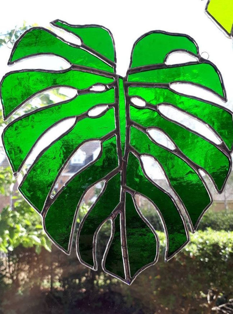 Stained glass Monstera Leaf / Swiss Cheese Plant Suncatcher 2
