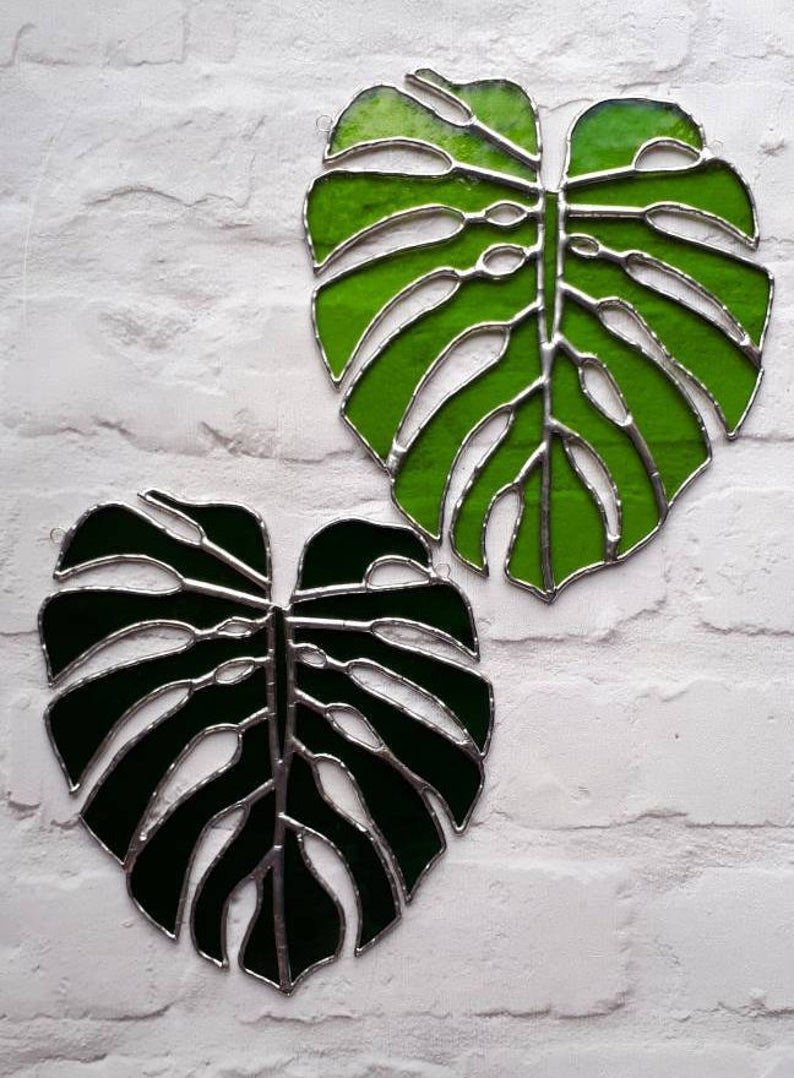 Stained glass Monstera Leaf / Swiss Cheese Plant Suncatcher 1