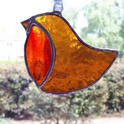 Stained glass robin suncatcher / Christmas decoration 8