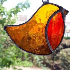 Stained glass robin suncatcher / Christmas decoration 7