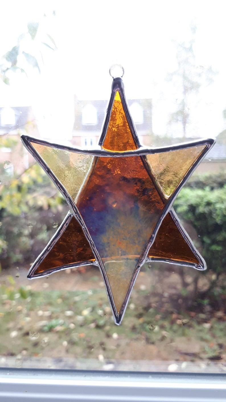 Stained glass Star suncatchers - Christmas tree decorations - Star of David 7