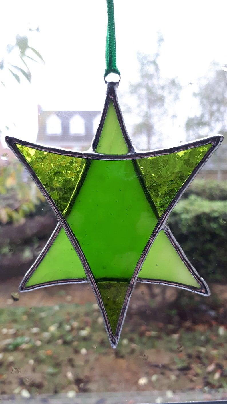 Stained glass Star suncatchers - Christmas tree decorations - Star of David 6