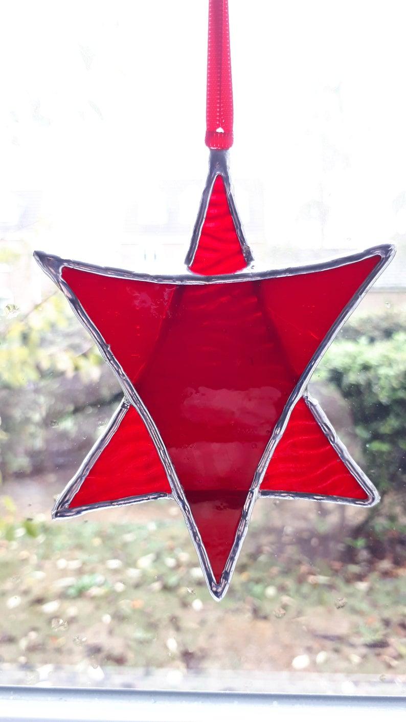 Stained glass Star suncatchers - Christmas tree decorations - Star of David 5