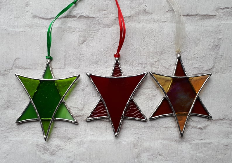 Stained glass Star suncatchers - Christmas tree decorations - Star of David 4