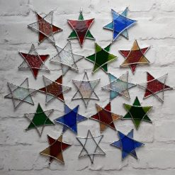 Stained glass Star suncatchers - Christmas tree decorations - Star of David 9