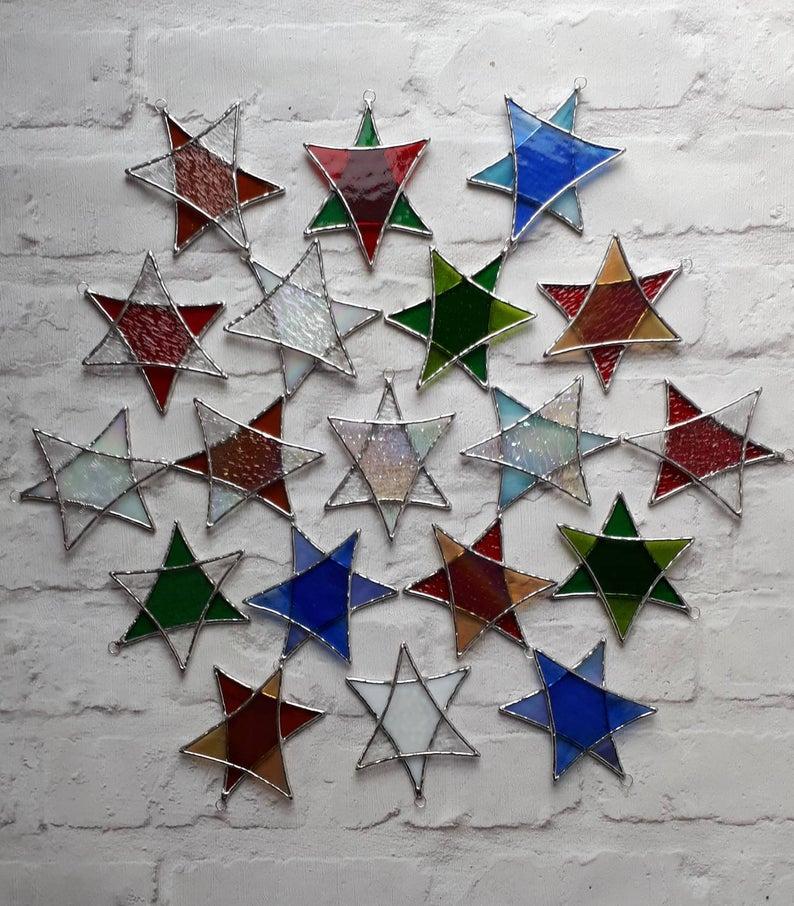 Stained glass Star suncatchers - Christmas tree decorations - Star of David 3