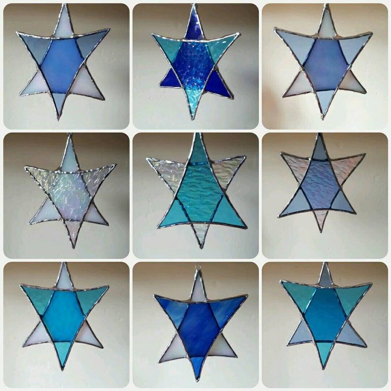 Stained glass Star suncatchers - Christmas tree decorations - Star of David 2