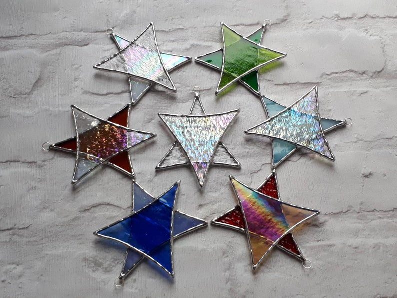 Stained glass Star suncatchers - Christmas tree decorations - Star of David 1