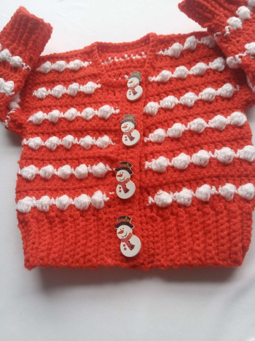 Babies first Christmas cardigan red and white 1