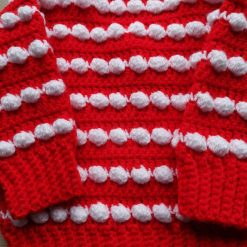 Babies first Christmas cardigan red and white 3
