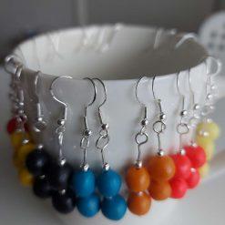 Polymer clay earrings navy blue 2 bead 9