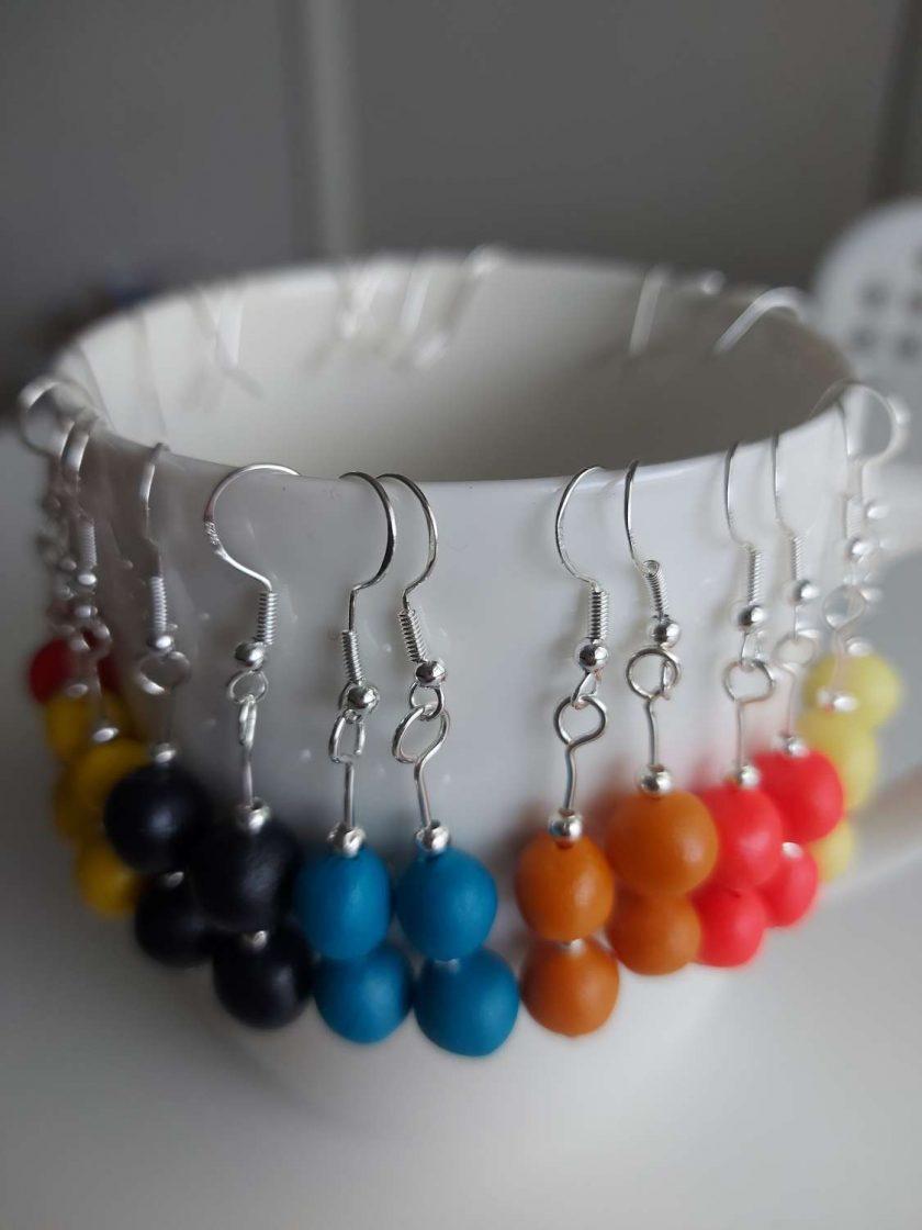Polymer clay earrings navy blue 2 bead 5