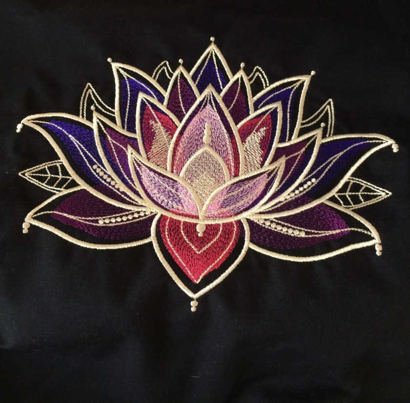 Gilded Lotus Cushion Handmade 5