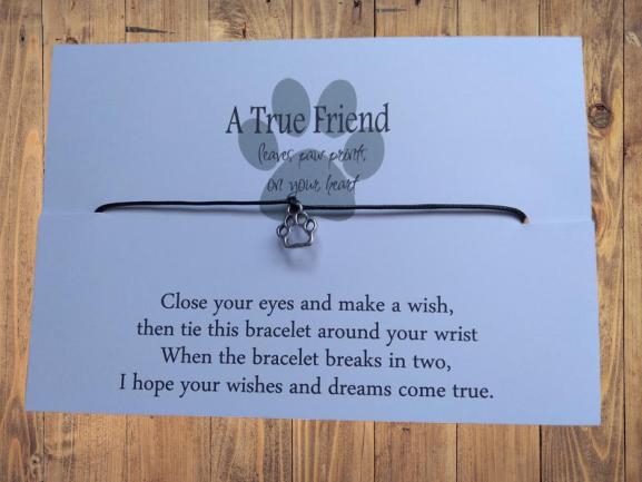 Dog Paw print wish bracelet, dog wish bracelet, leaves paws on your heart 1