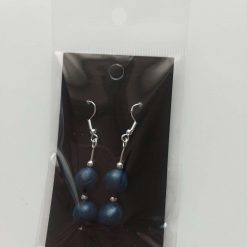 Polymer clay earrings navy blue 2 bead