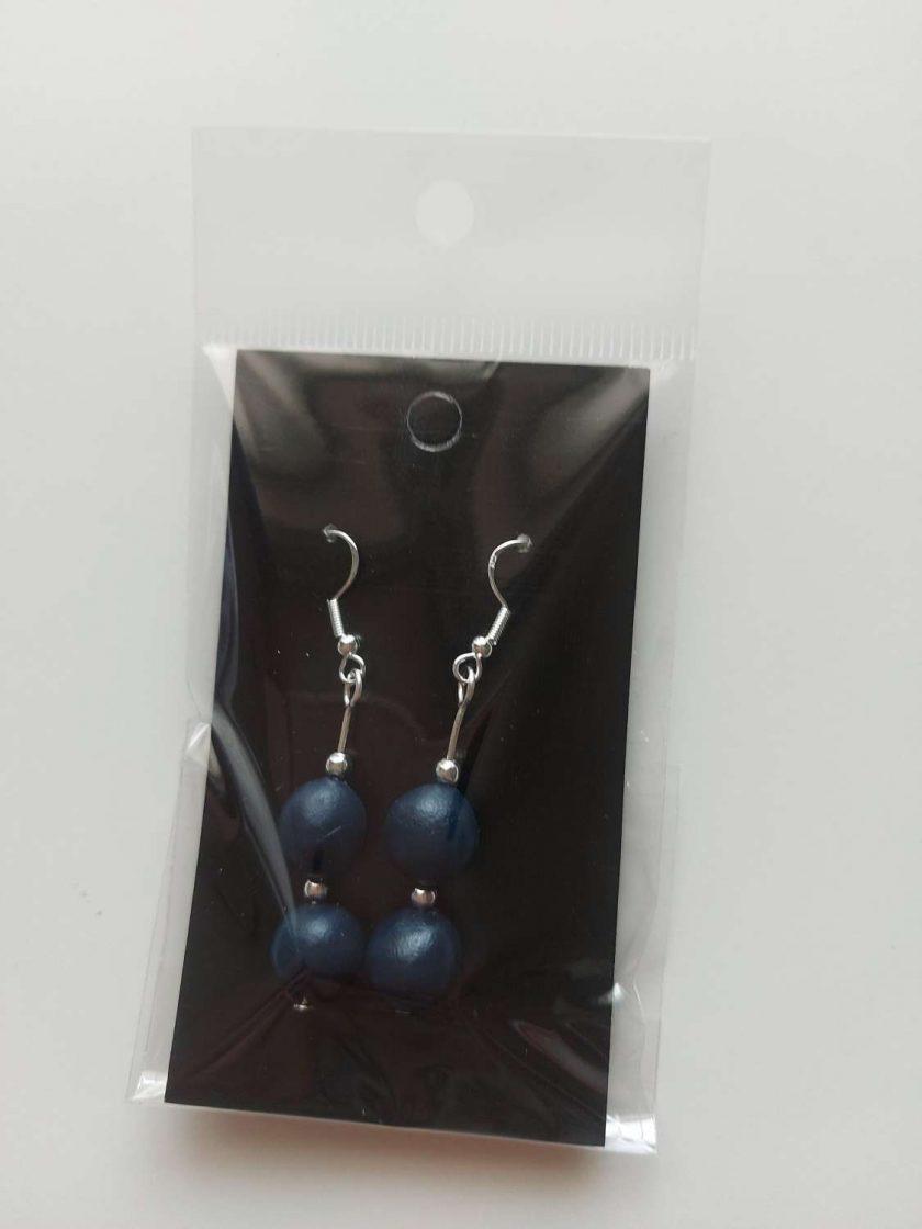 Polymer clay earrings navy blue 2 bead 1