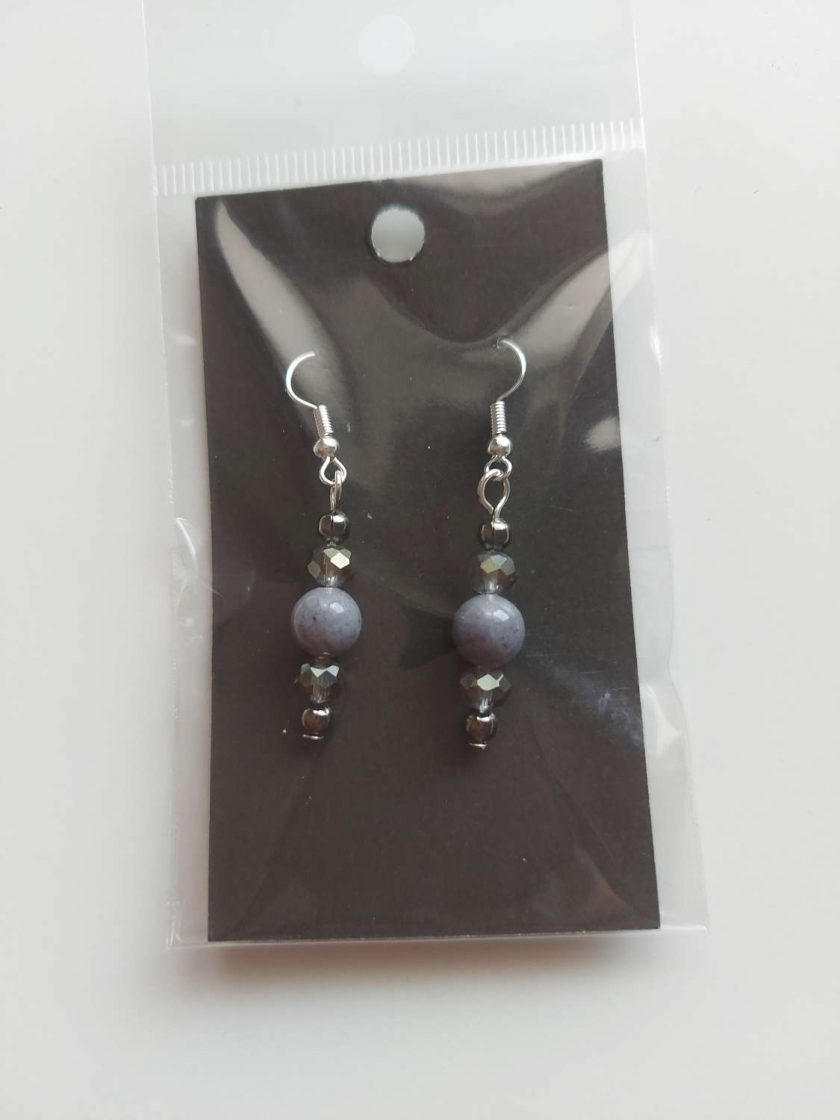 Grey gemstone earrings 1
