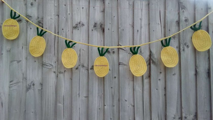 Pineapple Tropical Fruit Crochet Bunting Home Decor Gift FREE UK POSTAGE 1