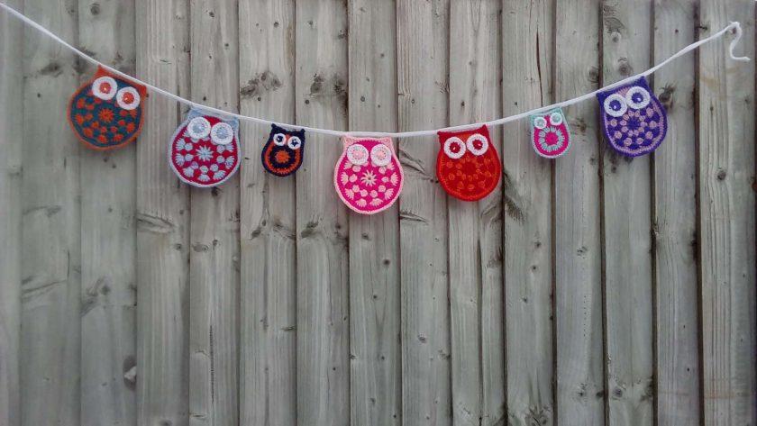 Crochet Owl & baby Owl Bunting Animals Garland Gift FREE UK POSTAGE 1