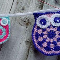 Crochet Owl & baby Owl Bunting Animals Garland Gift FREE UK POSTAGE 4
