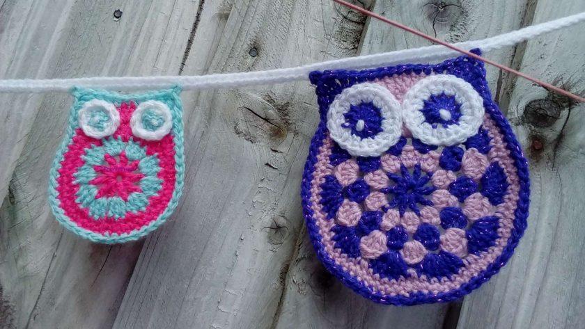 Crochet Owl & baby Owl Bunting Animals Garland Gift FREE UK POSTAGE 2