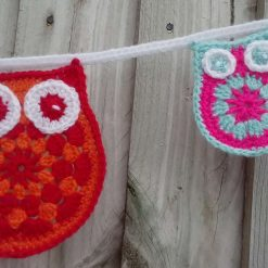Crochet Owl & baby Owl Bunting Animals Garland Gift FREE UK POSTAGE 5