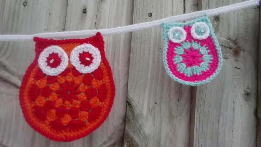 Crochet Owl & baby Owl Bunting Animals Garland Gift FREE UK POSTAGE 3