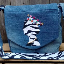 OOAK Queen Fully Lined Handbag Zebra Fabric and Button Crown