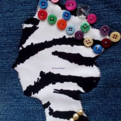 Queen Fully Lined Handbag Zebra Fabric & Button Crown FREE UK POSTAGE 8