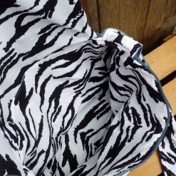 Queen Fully Lined Handbag Zebra Fabric & Button Crown FREE UK POSTAGE 13