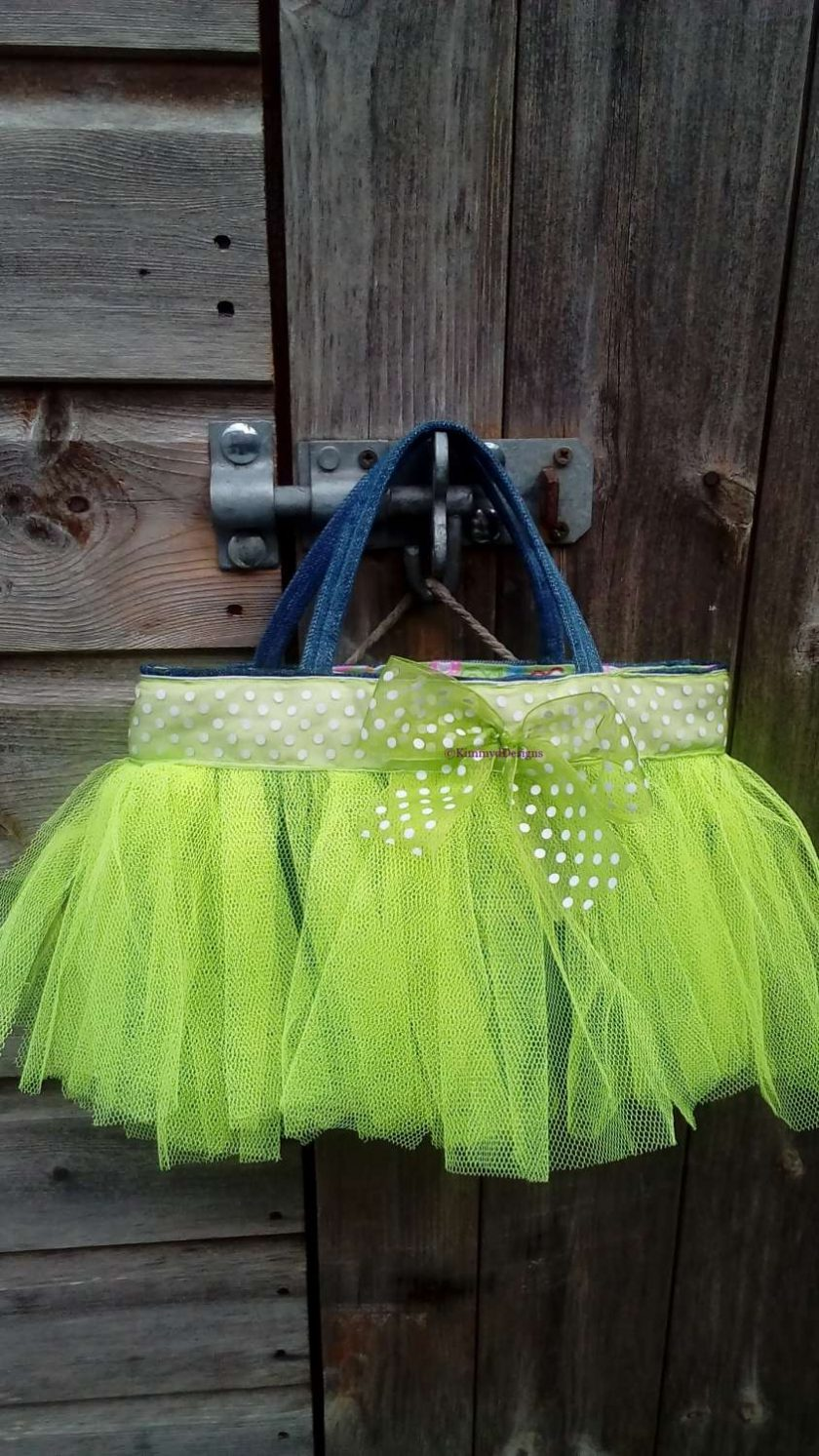 Kids Handbag (from recycled jeans) Tutu with Bow Fully Lined Bag Gift FREE UK POSTAGE 1