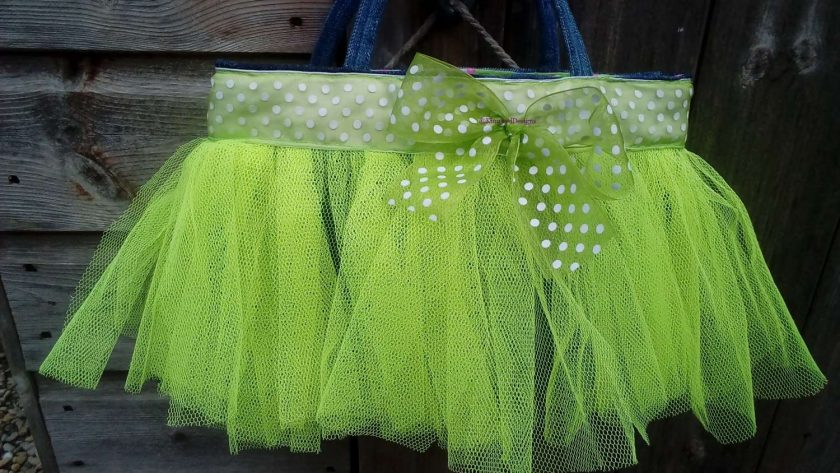 Kids Handbag (from recycled jeans) Tutu with Bow Fully Lined Bag Gift FREE UK POSTAGE 2