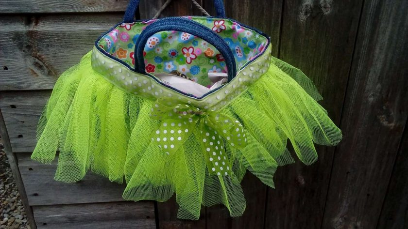 Kids Handbag (from recycled jeans) Tutu with Bow Fully Lined Bag Gift FREE UK POSTAGE 3