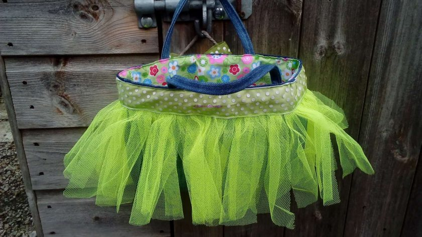 Kids Handbag (from recycled jeans) Tutu with Bow Fully Lined Bag Gift FREE UK POSTAGE 4