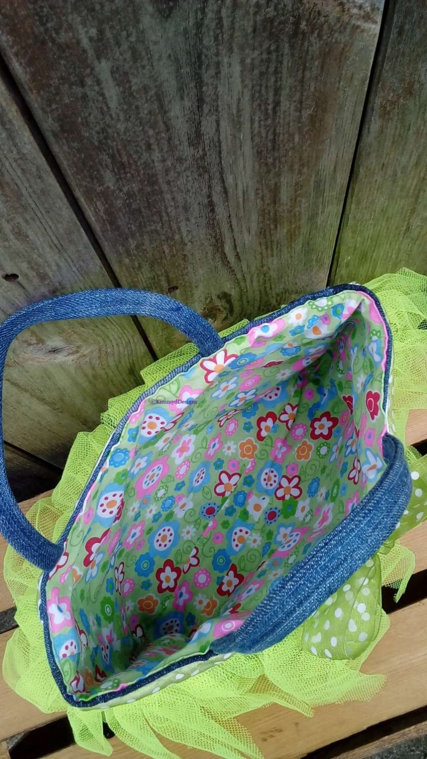Kids Handbag (from recycled jeans) Tutu with Bow Fully Lined Bag Gift FREE UK POSTAGE 5