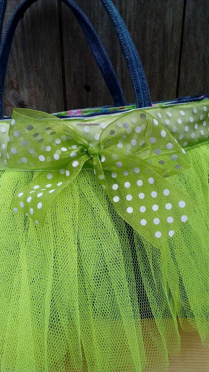 Kids Handbag (from recycled jeans) Tutu with Bow Fully Lined Bag Gift FREE UK POSTAGE 6