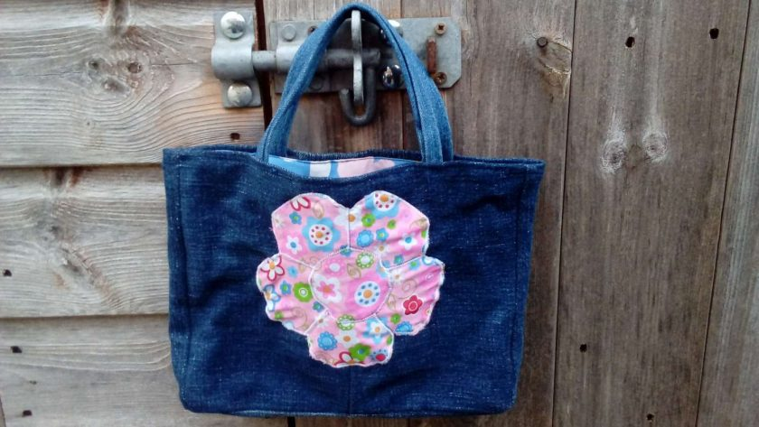 Kids Handbag (from recycled jeans) Applique Flower Fully Lined Bag Gift Tote FREE UK POSTAGE 1