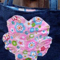Kids Handbag (from recycled jeans) Applique Flower Fully Lined Bag Gift Tote FREE UK POSTAGE 5
