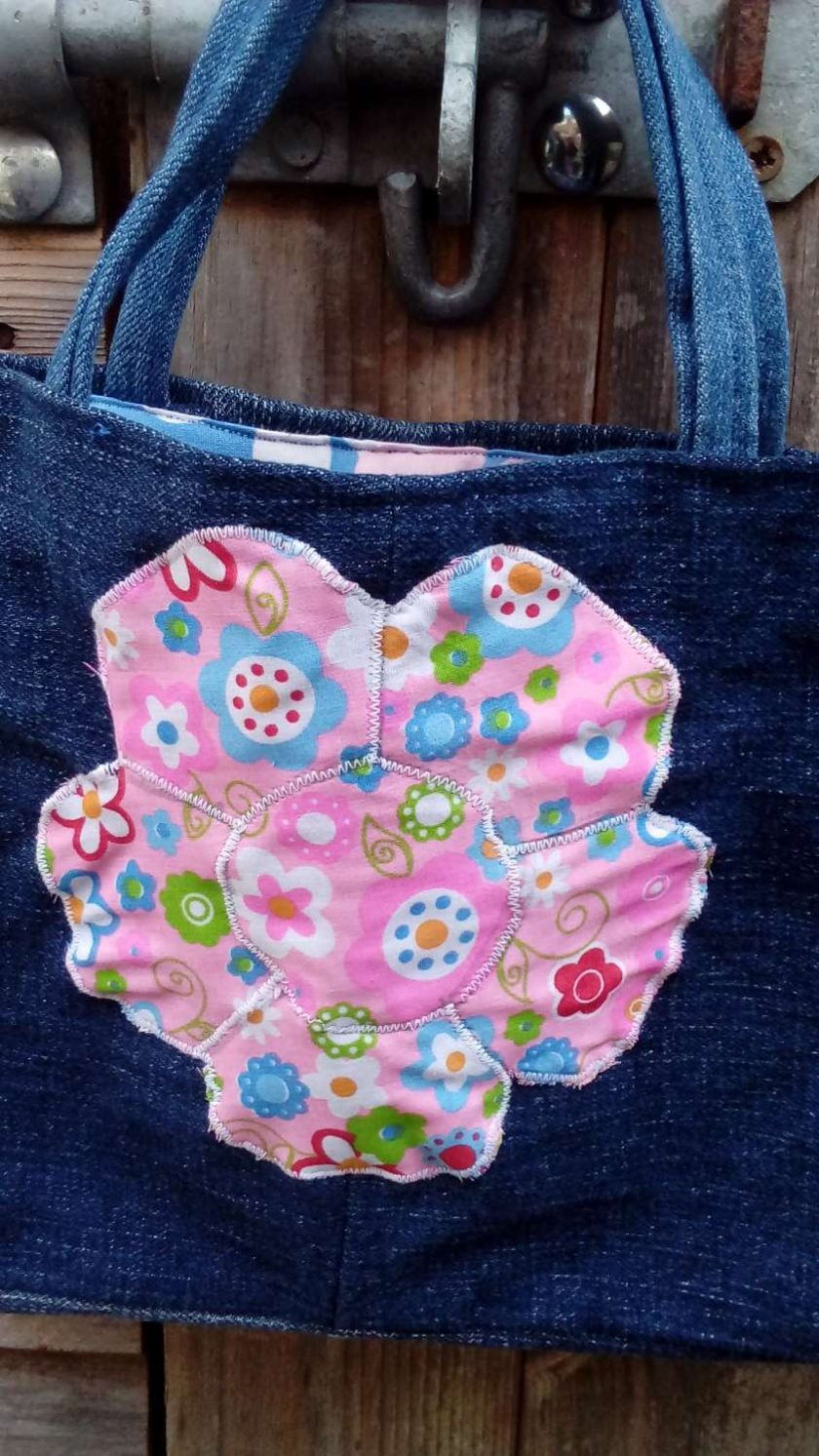 Kids Handbag (from recycled jeans) Applique Flower Fully Lined Bag Gift Tote FREE UK POSTAGE 2