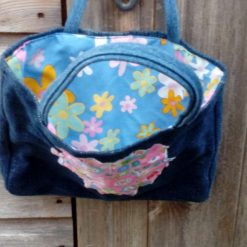 Kids Handbag (from recycled jeans) Applique Flower Fully Lined Bag Gift Tote FREE UK POSTAGE 6