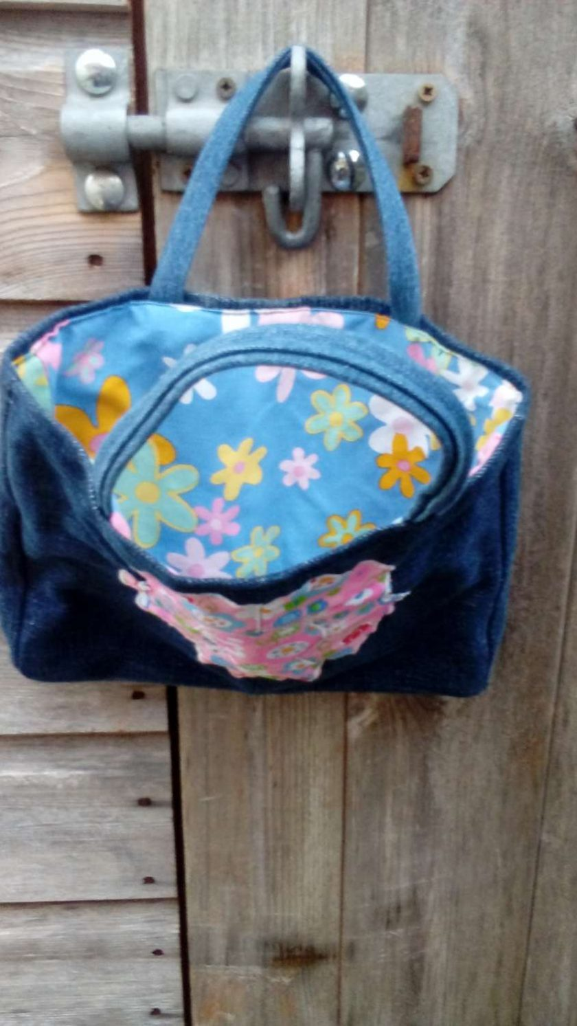 Kids Handbag (from recycled jeans) Applique Flower Fully Lined Bag Gift Tote FREE UK POSTAGE 3