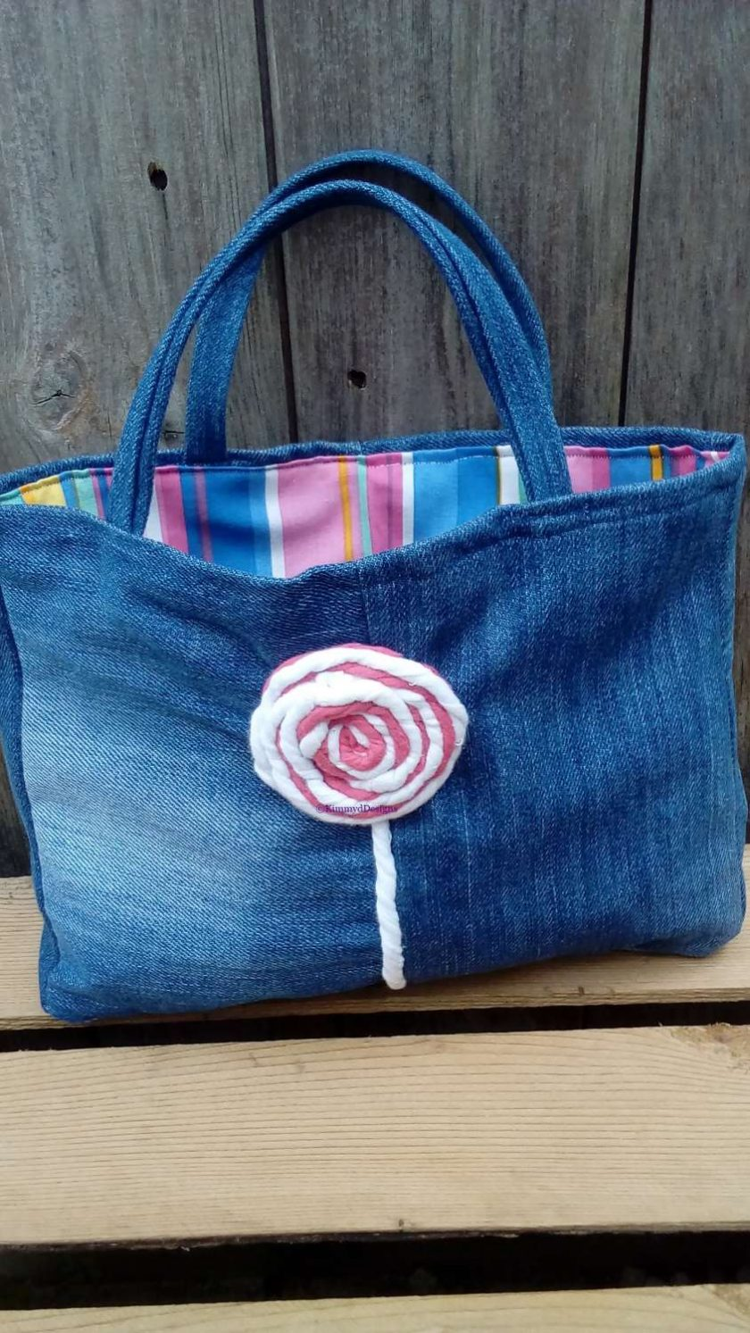 Kids Handbag (from recycled jeans) Lollipop Fully Lined Bag Gift Tote FREE UK POSTAGE 1