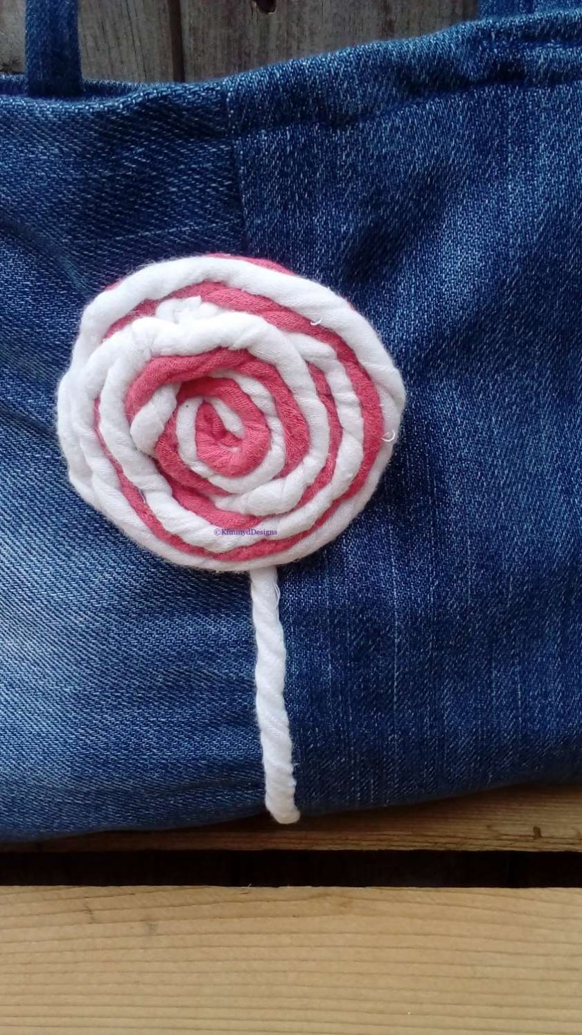 Kids Handbag (from recycled jeans) Lollipop Fully Lined Bag Gift Tote FREE UK POSTAGE 2