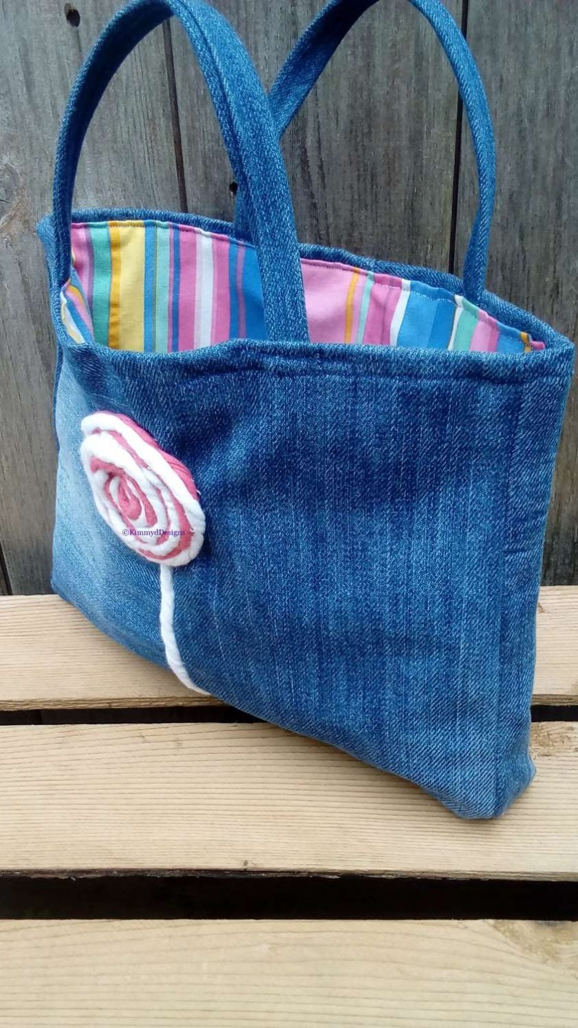 Kids Handbag (from recycled jeans) Lollipop Fully Lined Bag Gift Tote FREE UK POSTAGE 3