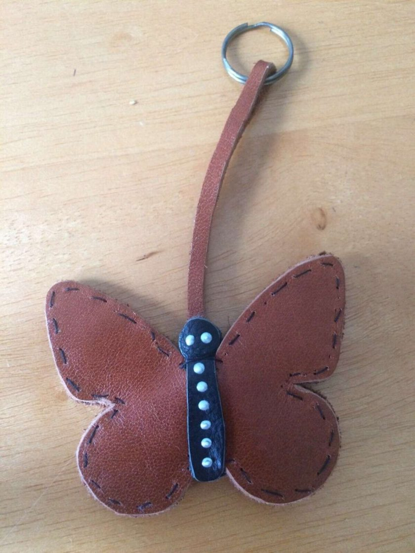 REAL LEATHER Butterfly Keyring / bagcharm Keychain GIFT IDEA FREE UK POSTAGE 1