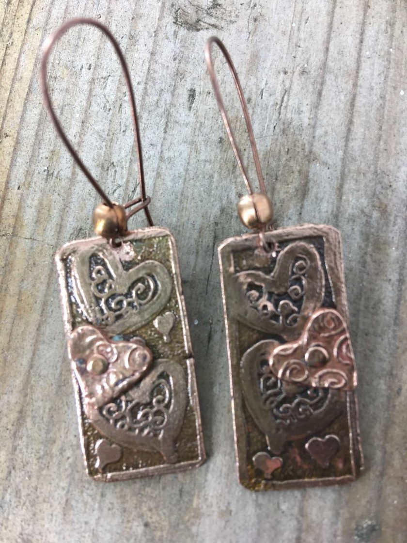 Etched Copper Earrings 1
