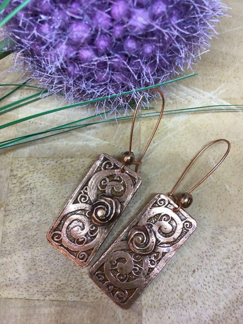 Etched Copper Earrings 2