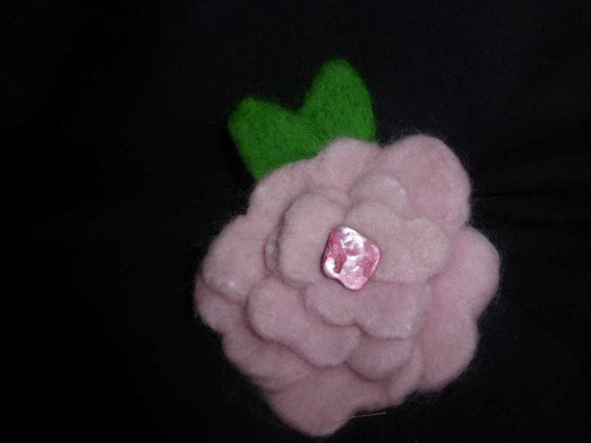 Large Hand Needle Felted Flower Brooch 1