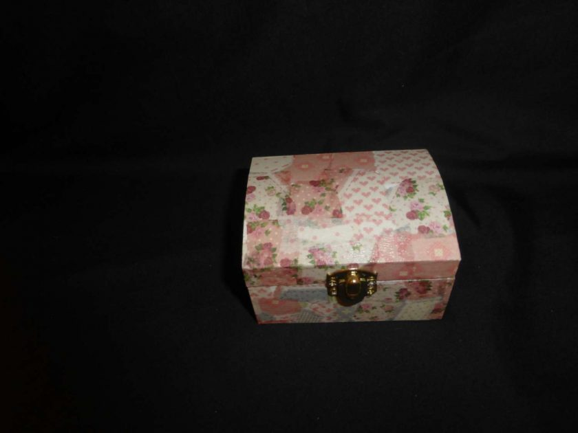 Small Treasure Chest Box with Decopatch covering 1
